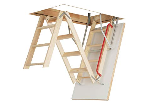 Optistep Wooden Timber Folding Loft Ladder Attic Stairs. Frame Size W60cm x...