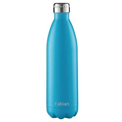 FLSK Isolierflasche 1000ml Carribean blau mit Gravur ** Trinkflasche hält 18 Stunden heiß und 24 Stunden kalt, 100% Dicht, Kohlensäurefest ** inkl. kostenloser Namensgravur