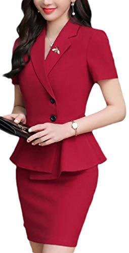 dahuo Damen-Blazer mit Schößchen, formelle Passform, zwei Knöpfe, figurbetontes Kleid Gr. 48, 2