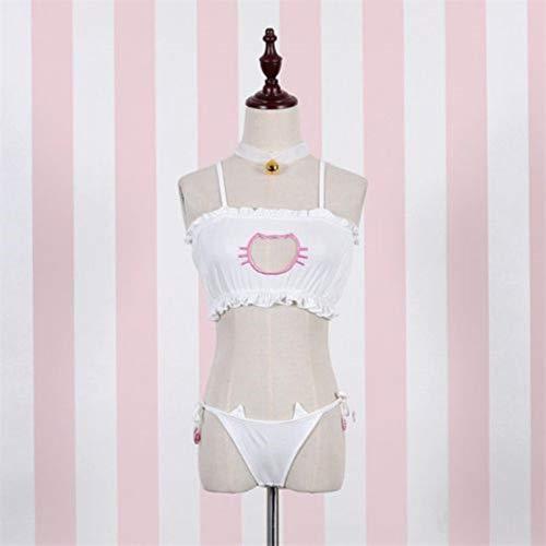 Jiaxin Nuevo Sexy Lolita Cat Perforado Kawaii Cartoon Catwoman Lencería Cosplay Bra + G-String + Bell Collar Cute Babydoll Ropa de Dormir
