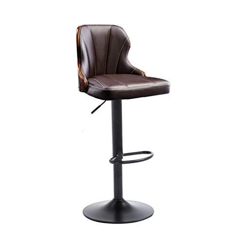 Kantoorstoel Verstelbare Roterende Bar Kruk Thuis Ontbijt Keuken Hoge Kruk, Moderne Leer Bruine Stoel