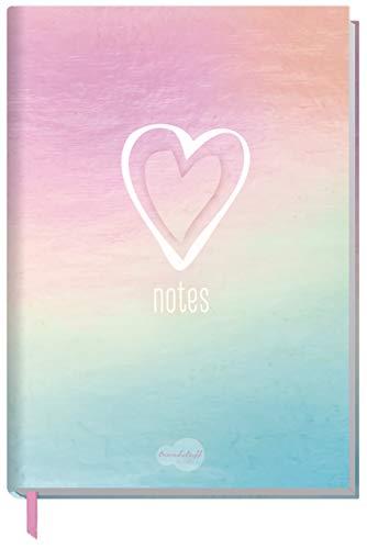 Trendstuff by Häfft - Cuaderno de notas (A5, cuadriculado, 126 páginas, ideal como diario, cuaderno de ideas, libreta de notas), diseño de corazones