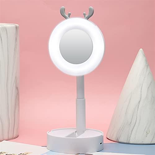 Luces de espejo de vanidad LED Lámpara de mesa de escritorio de luz de espejo USB cargando LED maquillaje espejo luces regalos para maquillaje (Emitting Color : Deer horn White)