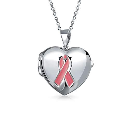 Cinta rosa cerebro cáncer sobreviviente collar corazón medallón para las mujeres para adolescente conmemorativo Momenta titular de plata de ley