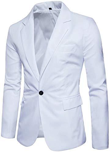 Men's Long Sleeves Peak Lapel Collar One Button Slim Fit Sport Coat Blazer, White, M/40 = Tag 2XL