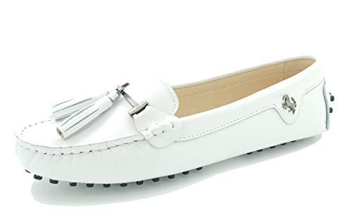 MINITOO Damen Quasten Slip-on Leder Slipper Mokassins Fahren Flache Schuhe Weiß EU 39