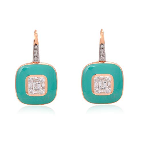 Spectrum Jewels 18K medio Ct. Baguette diamante verde esmalte colgante cuadrado para Unisexadulto Multicolor