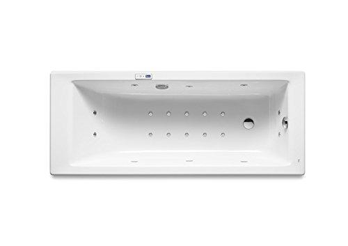 Roca - Bañera acrílica rectangular con hidromasaje Total y juego de desagüe - Serie Vythos, Color Blanco
