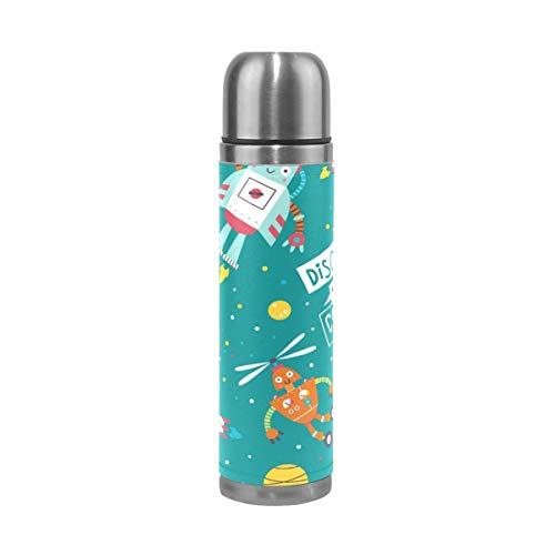Thermos ThermoCafé Botella térmica aislada, Cohetes de robots de dibujos animados,Frasco de Vacío de Acero Inoxidable 500 ml