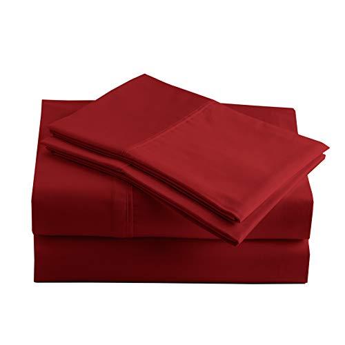 Peru Pima - 415 Thread Count Percale - 100% Peruvian Pima Cotton - California King Bed Sheet Set, Burgundy