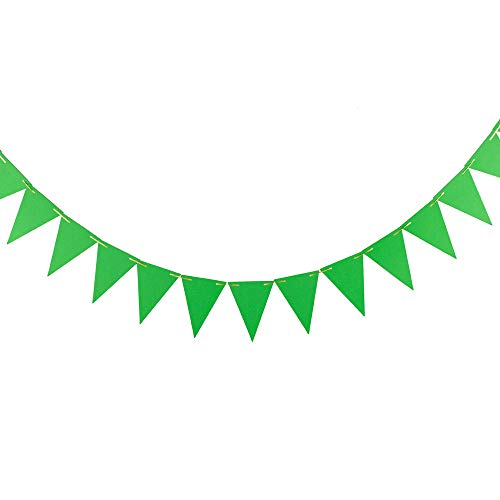 ZOOYOO 20 Feet Green Pennant Banner, Paper Triangle Flags Bunting for Party Decoration,30pcs Flags,Pack of 2(One 20 Feet or Two 10 Feet)