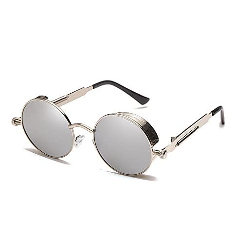 NBJSL Gafas de sol de montura redonda de metal retro para hombres y mujeres Gafas de sol con bloqueo Uv Exquisito embalaje de regalo