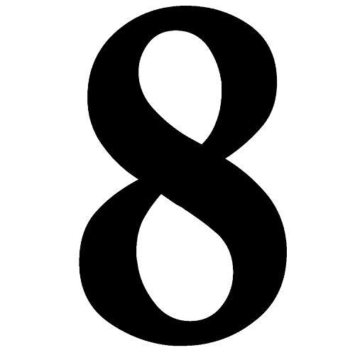 Zahlen-Aufkleber Nr. 8 in schwarz I Höhe 10 cm I selbstklebende Haus-Nummer, Ziffer zum Aufkleben für Außen, Briefkasten, Tür I wetterfest I kfz_471_8