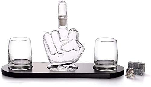 SOAR Botellero El Dedo Medio de la Novedad Whisky Decanter, 2 Vaso de Bebida de los vidrios, y la Base de Madera, for Hombre Regalo de refrigeración Piedras del Whisky y el Embudo for el Ron, Whisky,