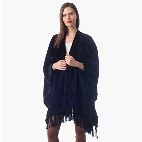 ShopBedding Gift for Mom Fleece Wearable Throw Poncho - Throw Blanket Fringed Wrap - Fleece Cape - Cozicoon (Black)
