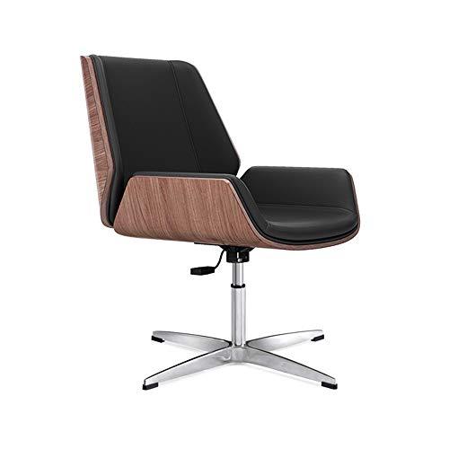 Kruk MEIDUO Swivel bureaustoel Executive stoel PU stoel Home Computer stoel met gebogen houten rugleuning, kantelfunctie, gratis rotatie, verstelbare bureaustoel