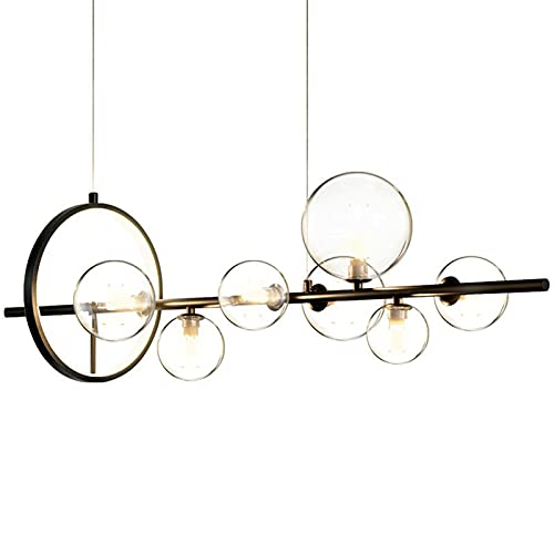 QULONG Lámpara Negra Creativa, lámpara Burbuja Vidrio lámpara Colgante de Restaurante Colgantes Restaurante, mostrador de recepción, Tienda de Ropa, Accesorio de iluminación Interior,120x30 cm