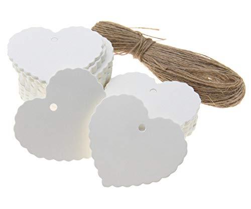 100 Stks Wit Hartvorm Bruiloft Sjaal Label Blank Bagage Kraft Papier Gift Tags+Strings