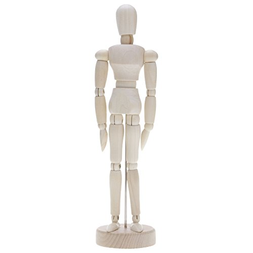 VANKER Maniquí movible de Madera Ajustables, Humanos Figura Modelo,Base y Cuerpo Flexible - 20cm