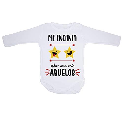 AR Regalos Body bebé Me Encanta Estar con mis Abuelos (0 a 3 Meses)
