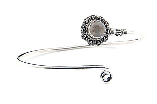 Labradorit Armreif 925 Silber Sterlingsilber Armband Armspange blau (MAR 05-05)