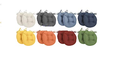 Corredocasa - Set Cuscini Arredo per Sedia (2 Pezzi) Rotondi (Diametro 35 cm) con Lacci (colore da scegliere con una mail)