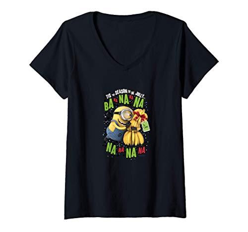 Mujer Despicable Me Minions Stuart Christmas Tis The Season To Ba Camiseta Cuello V