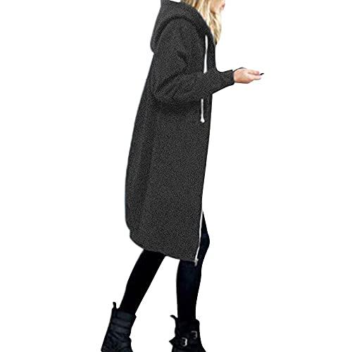 Darringls Leicht Parka Übergangsjacke Damen Lang Mode Sportjacke Große Größen Softshelljacke Reißverschlusstasche Outdoorjacke mit Kordelzug Hoodie Lässig Outwear