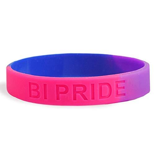 Patch Nation Bisexual Gay Bi Pride Lesbiana LBGTQ - Pulsera de silicona con bandera fusionada