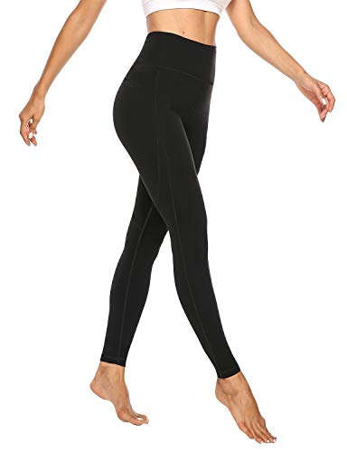 JOYSPELS Damen Leggings, Sport Leggings Damen Sporthose Yogahosen, High Waist Sportleggins Schwarz, M