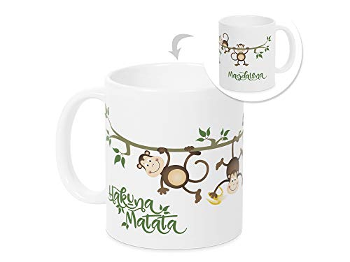 GRAZDesign Tasse Dschungel mit Name, Affen Hakuna Matata, für Kinder Mädchen Jungen