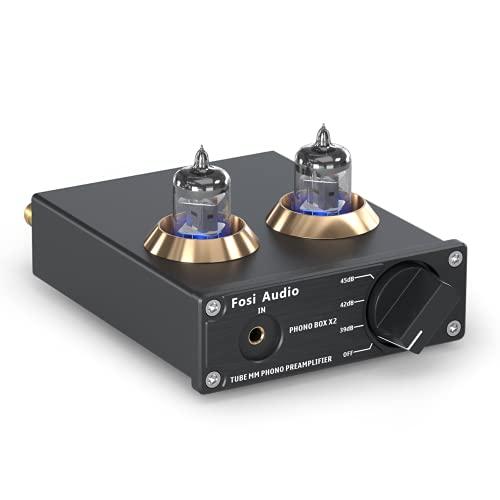 Fosi Audio Box X2 - Preamplificatore phono, per giradischi Preamplificatore fonografico MM, Hi-Fi audio stereo Mini Gain Gear, con alimentazione 12V x2