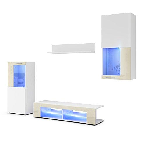 Wohnwand Anbauwand Movie, Korpus in Weiß matt/Fronten in Weiß matt und Creme Hochglanz mit Blauer LED Beleuchtung