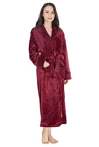 Westkun Unisex Fleece Bademantel Microfaser Morgenmantel Herren Damen Lang Premium Edler Luxury Flanell Saunamantel Flauschig Pyjama Nachtwäsche-Größenauswahl M-3XL(Burgund,L)