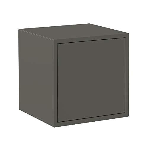 Iconico Home QBE Cubo da parete, con anta apertura a pressione, Ingresso, Soggiorno, Camera da letto, Cameretta ragazzi, Studio, 37,5x35xh37,5 cm, Grigio scuro