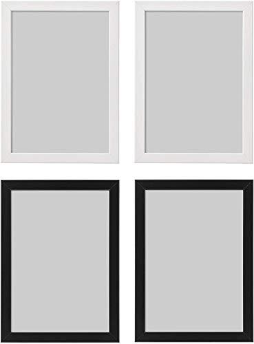 Ikea FISKBO A4 21x30cm fotolijst - Set van 2 x Wit & 2 x Zwart Set of 12 Wit-zwart