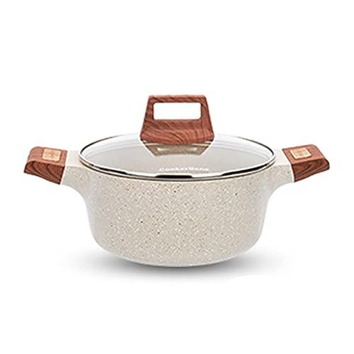 Utensilios de cocina al vapor Pottine, olla de sopa de piedra antiadherente/olla de cocción (20/24 / 28cm), para 1-8 personas, para cocina de gas/cocina de inducción Charola para hornear