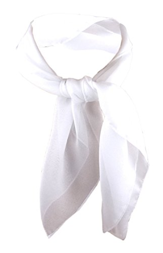 TigerTie Damen Chiffon Nickituch in weiß schneeweiß einfarbig unicolor - Halstuch Größe 50 cm x 50 cm