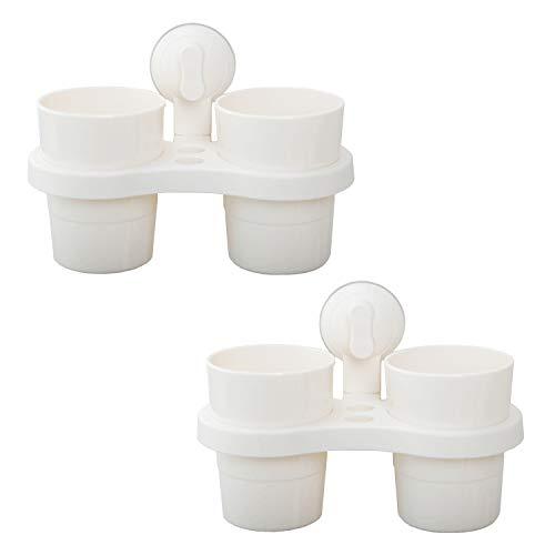 LIKERAINY Kunststoff Zahnbürstenhalter und Zahnputzbecher Halter mit Saugnapf für Badezimmer Cremeweiß 2 Set