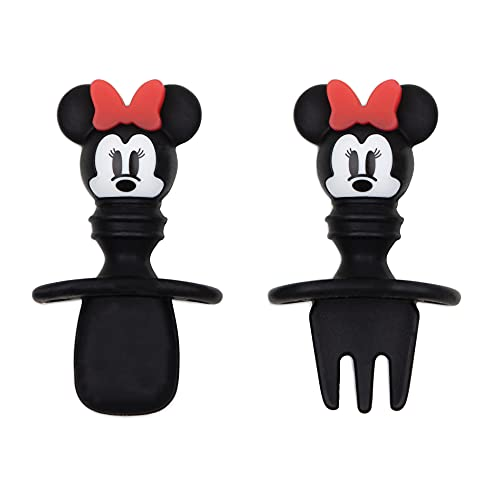 Bumkins Utensils, Disney Silicone Chewtensils, Baby Fork and Spoon Set, Training Utensils, Baby Led Weaning Stage 1 for Ages 6 Months+ Minnie Mouse