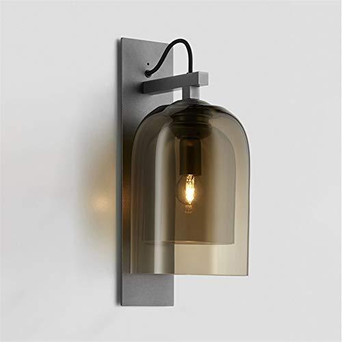 HCMNME Lámpara Industrial, Sencilla lámpara de Pared de Hierro Forjado Creativa de Noche Pasillo salón Hotel lámpara lampy Pared de Cristal Redondo,Decoración del hogar (Color : Amber)
