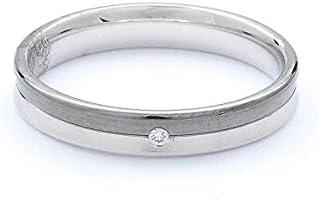 Breuning 18K White/Black Shiny & Matte Finish 0.01ct Round cut Diamond Wedding Ring [BR5663]