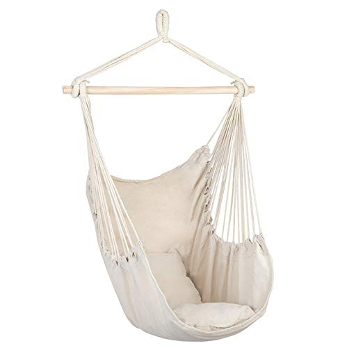 SPARSIFOLIA Distinctive Hammock Chair; Cotton Canvas Hanging Rope Chair Swing with Pillows; Superior Comfort & Durability; for Indoor & Outdoor Use; Beige