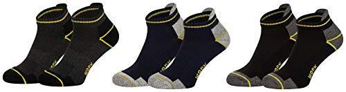 Piarini 6 Paar Arbeitssocken Funktionssocken - Sneaker-Socken Füßlinge - verstärkte Ferse & Spitze - Farbmix 43-46