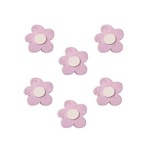 6 Un. Pomo TIRADOR Mueble BEBÉ flor madera rosa SHABBY CHIC 54x52MM para cajón cómoda y armario