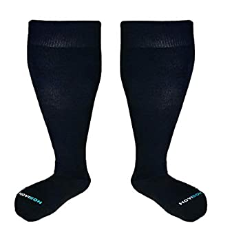 HOYISOX Plus Size Compression Socks 20-30 mmHg for Men and Women Wide Calf Extra Large 4X Comfortable Cotton  Black 4X-Large