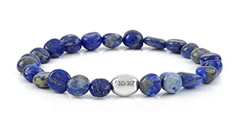 10:10 Pulsera elástica con pepitas de piedras naturales, pepita de plata 925 °°° bañada en oro blanco de 18 kt.…