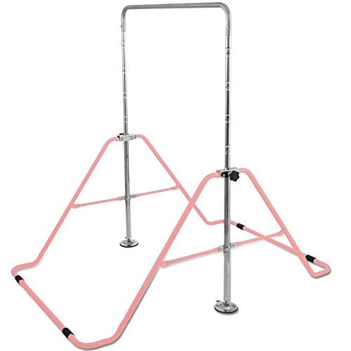 BuoQua Kids Gymnastics Bar with Gloves Adjustable Folding Horizontal Bar Pull Up Expandable Junior Training Bar for Kids Home Training (Pink)