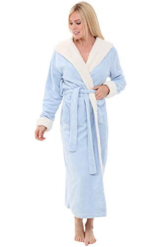Alexander Del Rossa Women's Warm Fleece Robe with Hood, Long Plush Bathrobe, Small-Medium Light Blue with Sherpa Contrast (A0273LBLMD)