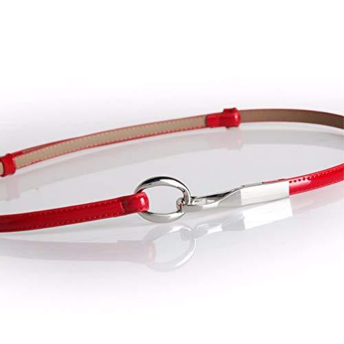 LIUXINDA-YD Damengürtel aus Leder mit Lackgürtel aus dekorativem Lackleder, 100 cm, rot